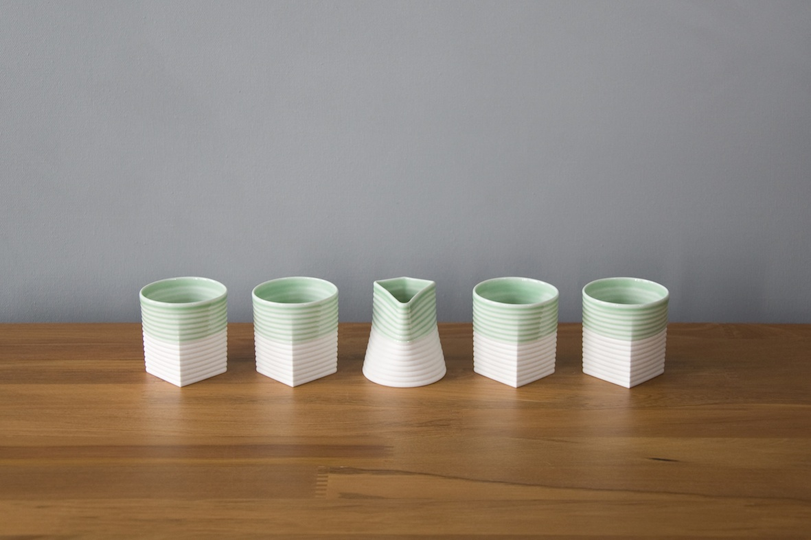 Sarah Backler |   Green  Espresso  set including  dash | McATAmney Gallery | Geraldine NZ