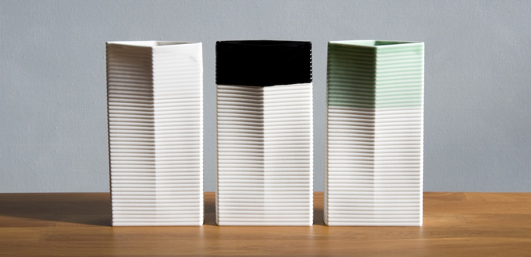 Sarah Backler | Vase 2 |  Tall , White, Green, Black | McATamney Gallery | Geraldine NZ