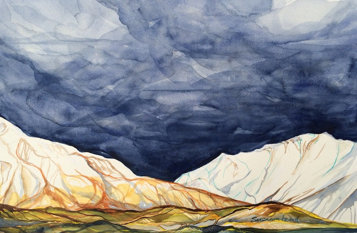 Susanna Izard | Boundary Creek Winter | watercolour | McAtamney Gallery | Geraldine NZ