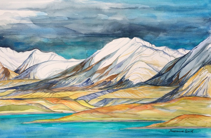 Susanna Izard | Round Hill & Richmond Range | watercolour | McATamney Gallery | Geraldine NZ
