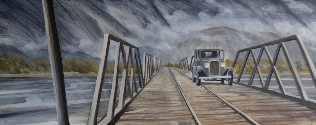 Bob Kerr | Trains make way | oil on board | McATamney Gallery | Geraldine NZ