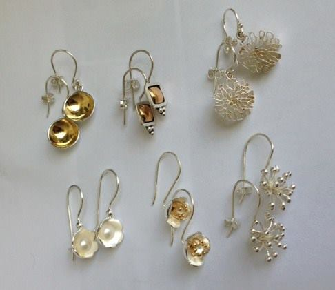 Alison Blain |  Group  Earrings3  Sterling Silver with gold vermeil  | Design Store | Geraldine N Z