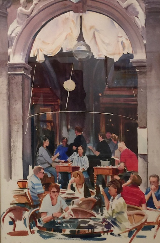 Richard Bolton| Drinks at St Marks Square |  watercolour | McATamney Gallery and Design Store | Geraldine NZ