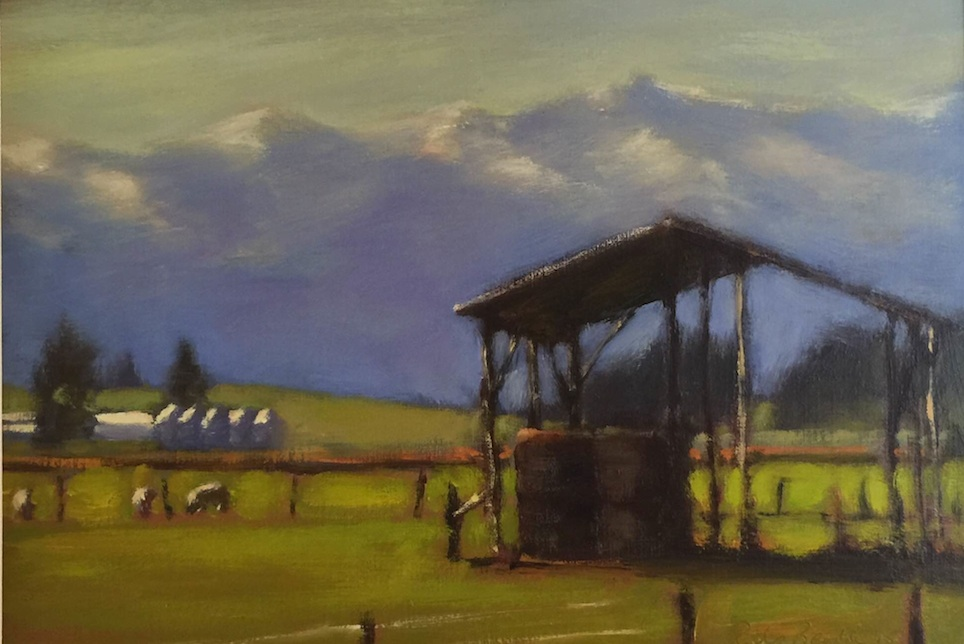 Philip Beadle|  Haybarn Near Farlie | oil on board | McATamney Gallery and Design Store  | Geraldine NZ
