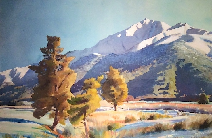 AA-Deans-Winter-Snow-Mt-Peel | watercolour | McAtamney Gallery and Design Store | Geraldine NZ