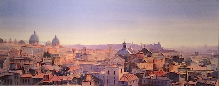 Richard Bolton| | View from Castel San't Agelo Rome | watercolour | McATamney Gallery and Desgin Store| Geraldine NZ