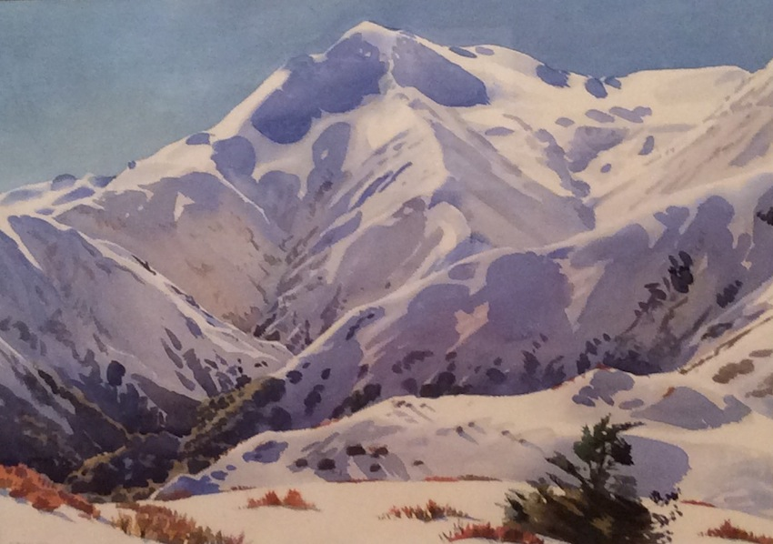 AA Deans | Mt Hutt | 1979 |   watercolour | 87 x 105 cm | McAtamney Gallery and Design Store | Geraldine NZ