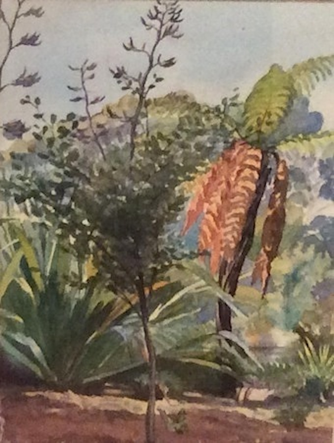 AA Deans | Bush Scene  |1936 | watercolour | fr 73 x 60  | McAtamney Gallery and Design Store | Geraldine NZ