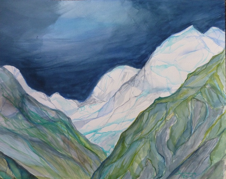 Susanna Izard | N0 5 Aoraki Mt Cook Hooker Valley |watercolour | McAtamney Gallery and Design Store | Geraldine NZ
