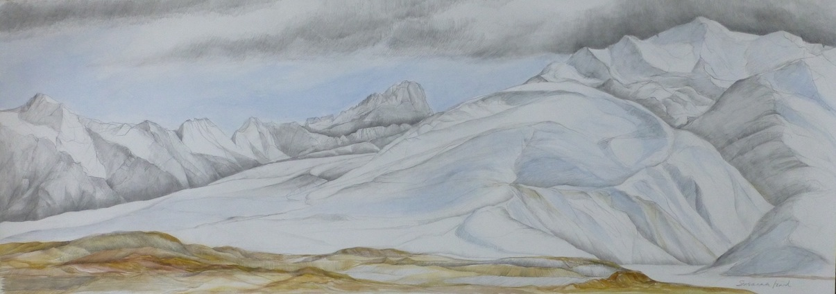 Susanna Izard | No 10 Mt Stevenson and Braemar Dome | watercolour| McAtamney Gallery and Design Store | Geraldine NZ
