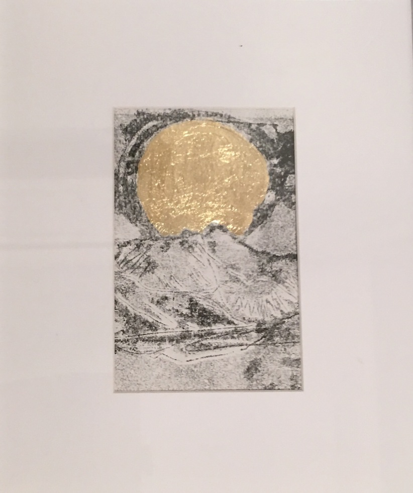 Sue Connolly Landscape 2 monoprint and gold leaf | McAtamney Gallery and Designs Store | Geraldine NZ