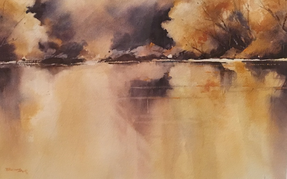 Bernadette Parsons | The Edge of Lake Dunstan | watercolour| McAtamney Gallery and Design Store | Geraldine NZ
