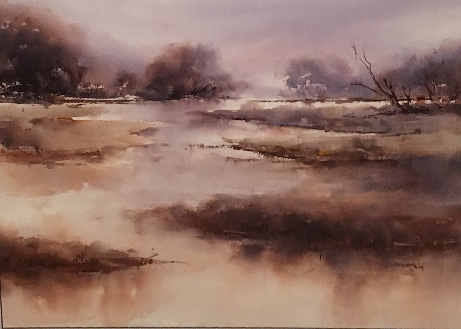 Bernadette Parsons | Love of Wetlands| watercolour  62 x 52 cm  | McAtamney Gallery and Design Store | Geraldine NZ