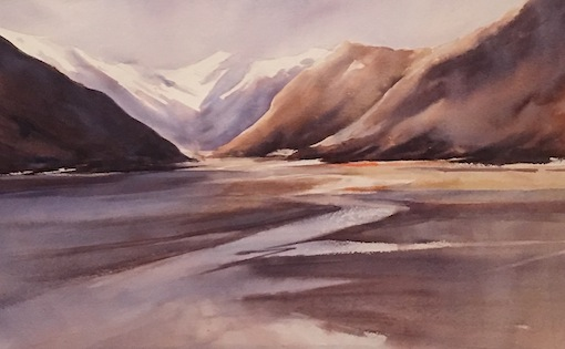 Bernadette Parsons |Waimakariri Glory| watercolour|McAtamney Gallery and Design Store | Geraldine NZ