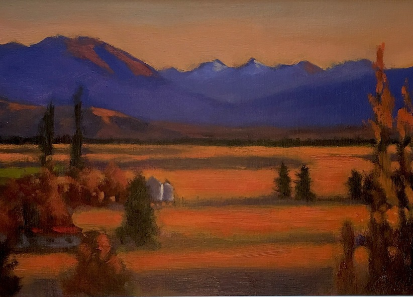 Philip Beadle  |Evening in the MacKenzie Country | oil on board | McAtamney Gallery and Design Store | Geraldine | NZ