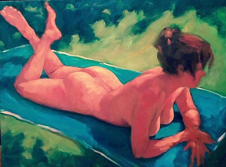 Philip Beadle| Summer Nude | oil on stretched canvas| McAtamney Gallery and Design Store | Geraldine NZ