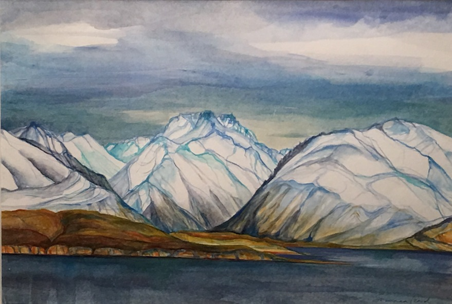 Susanna Izard Lake Tekapo towards Cass Valley | watercolour | McAtamney Gallery and Design Store | Geraldine NZ