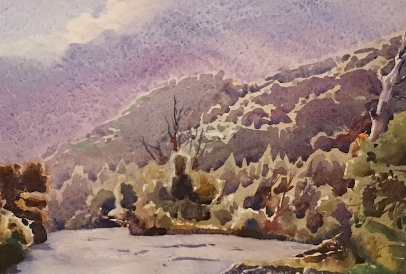AA Deans Kowhai Creek Misty  watercolour 2005