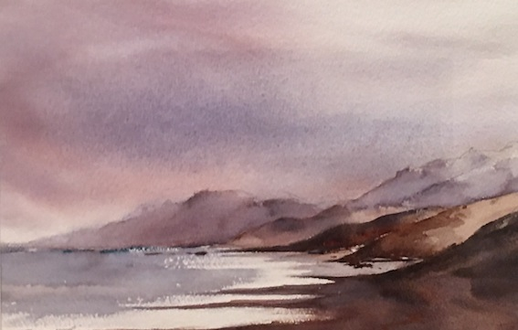 Bernadette Parsons| Kaikoura | watercolour |23 x 35cm | McATamney Gallery and Design Store | Geraldine NZ