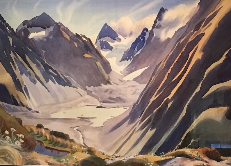 AA Deans | Lake on Lyell Glacier| watercolour  McAtamney Gallery and Design Store | Geraldine NZ
