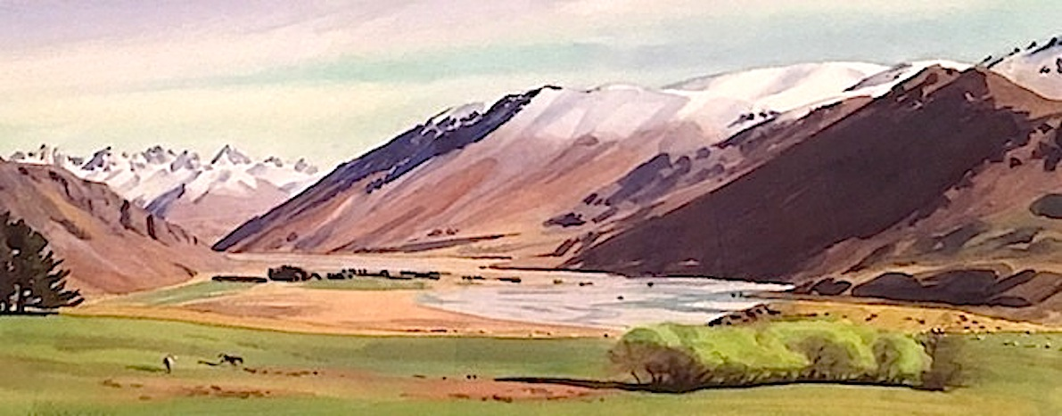 AA Deans |Spring Rangitata Gorge |watercolour| McAtamney Gallery and Design Store | Geraldine NZ.