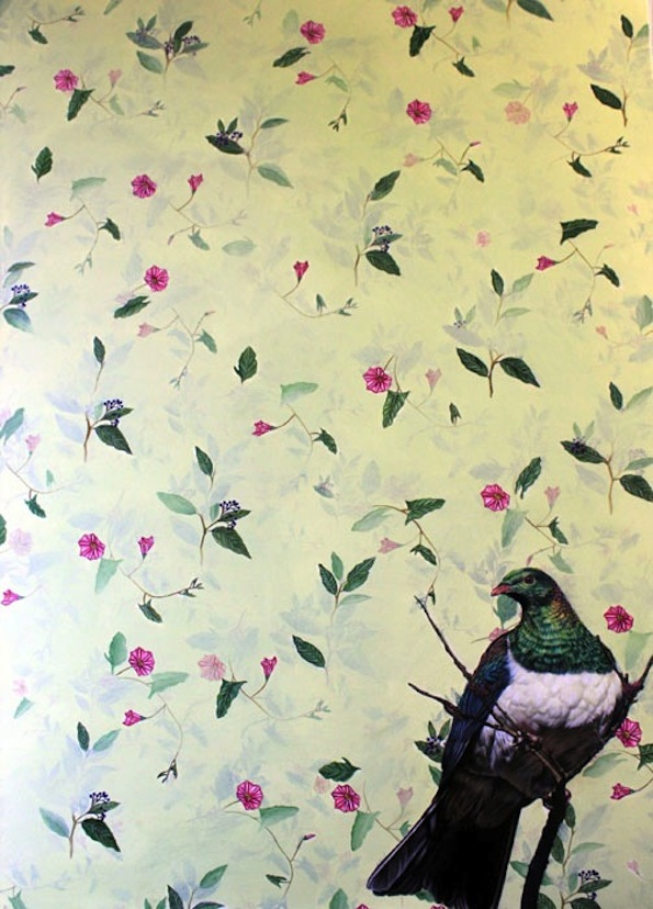 Kate Beatty | NZ Wood Pigeon| oil on board |120 x 90 | McAtamney Gallery and Design Store | Geraldine NZ