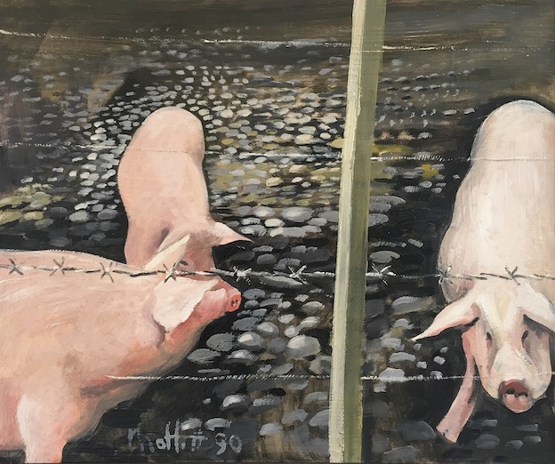 Trevor Moffitt | Canterbury Paddocks |, Pig Paddock No 3| oil on board |69 x 58 cm   McAtamney Gallery and Design Store | Geraldine NZ