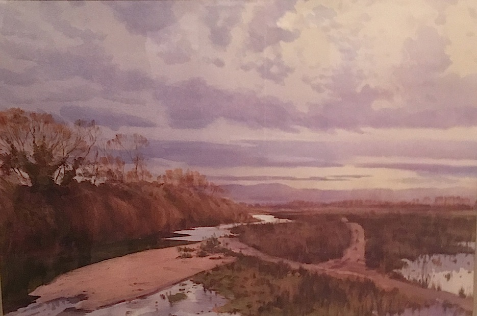 Richard Bolton| View of Waihao River  | watercolour | McAtamney Gallery and Design Store | Geraldine NZ