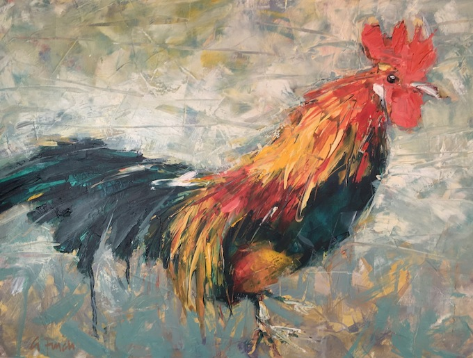 Grant Finch |Rooster | oil on board |McAtamney Gallery and Design Store | Geraldine NZ