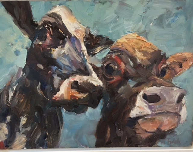 Grant Finch  | 2 Cows | oil on board | McAtamney Gallery and Design Store | Geraldine NZ