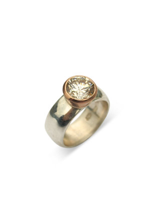 Debra Fallowfield | Creamy Topaz | Gold Rim | 10  mm Band |McATamney Gallery and Design Store | Geraldine NZ