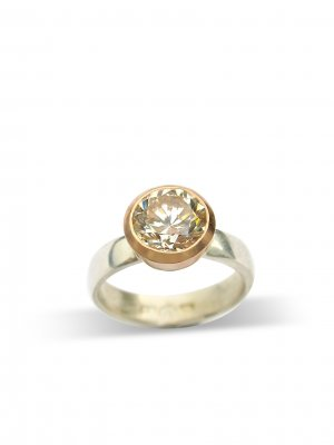 Debra Fallowfield | Creamy Topaz | 5 mm S/S  wide band | McAtamney Gallery and Design Store | Geraldine NZ
