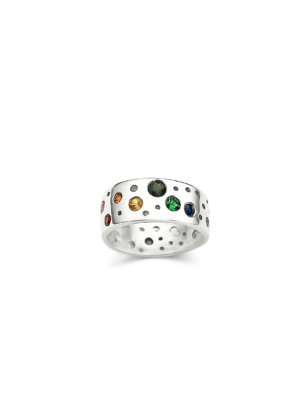 Debra Fallowfield | Erosion Mid Rainbow |  Sterling Silver Sapphires | McAtamney Gallery and Design Store | Geraldine NZ