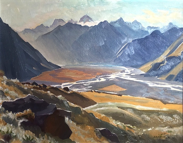 AA Deans|  Rakaia Valley From Prospect Hill (Louper Peak ) 1963 oil | McAtamney Gallery and Design Store | Geraldine NZ