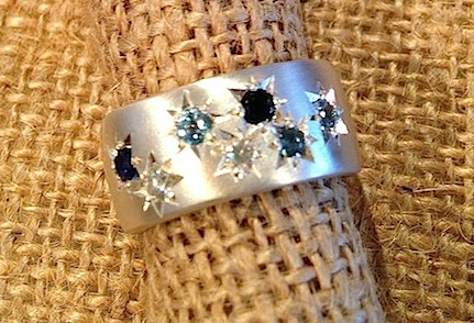 Debra Fallowfield| Brushed silver |sapphire moissanite starset | McAtamney Gallery and Design Store | Geraldine NZ