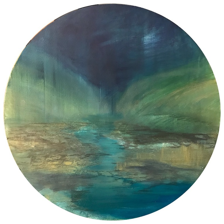 Amy Hoedemakers |Night River  oil  round| McAtamney Gallery and Design Store | Geraldine NZ