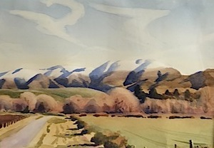 AA Deans |Benmore Range| 1999 |  watercolour  | McAtamney Gallery and Design Store | Geraldine NZ