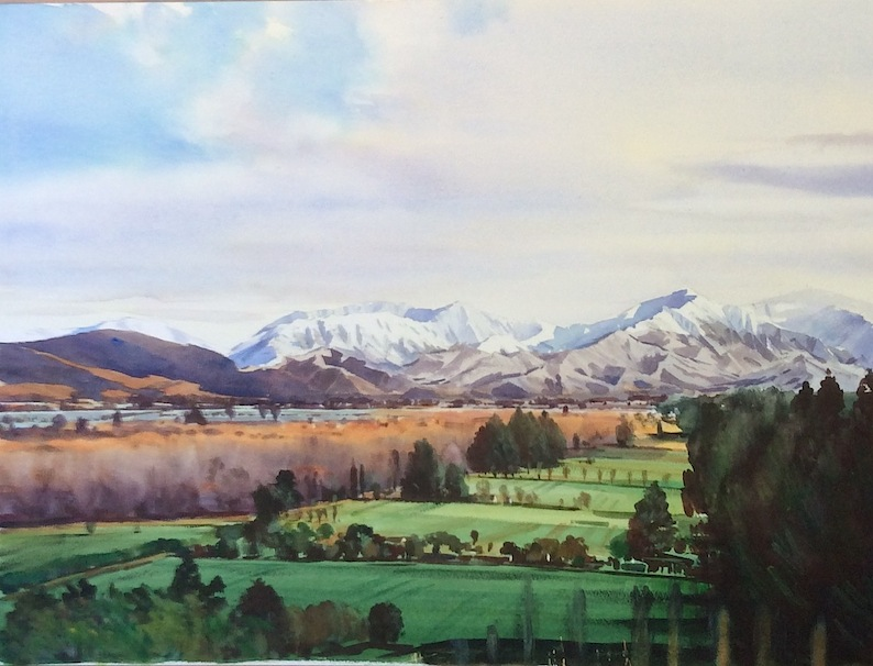 Richard Bolton | Pleasant Valley looking to  Four Peaks with St Anne's| McAtamney Gallery and Design Store | Geraldine NZ