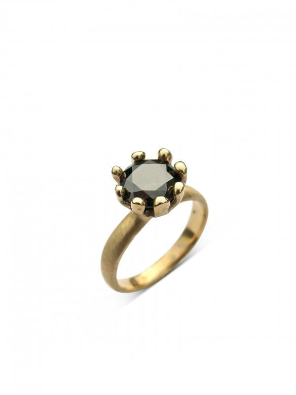 Deb Fallowfield |Black Moissanite|  Daisy ring|  McAtamney Gallery and Design Store | Geraldine NZ