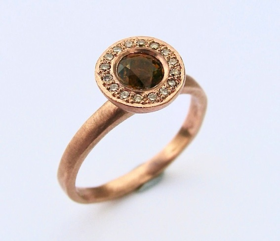 Debra Fallowfield| 14 ct  rose Gold| Mali garnet (rare) diamond  | McAtamney Gallery and Design Store | Geraldine NZ