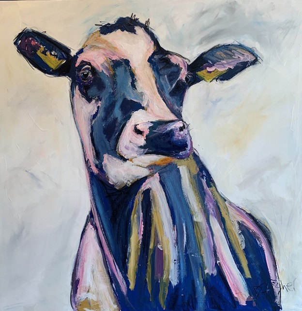 Denise Fisher | Large Cow  | Pink and Navy | Mixed Media | McAtamney Gallery and Design Store | Geraldine NZ