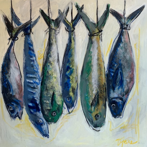 Denise Fisher | Six  Hanging Fish  | Mixed Media| McAtamney Gallery and Design Store | Geraldine NZ