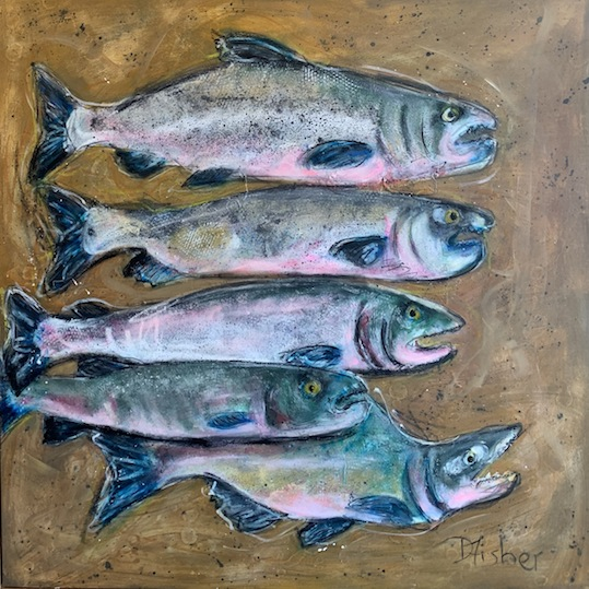 Denise Fisher | Salmon | Mixed Media |McAtamney Gallery and Design Store | Geraldine NZ